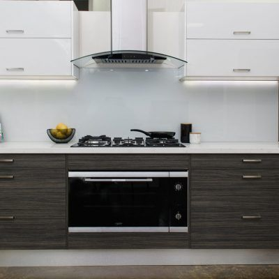 Zesta Mondo Kitchen with dark timber laminate cupboards