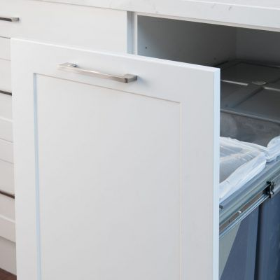 white kitchen slide out bins