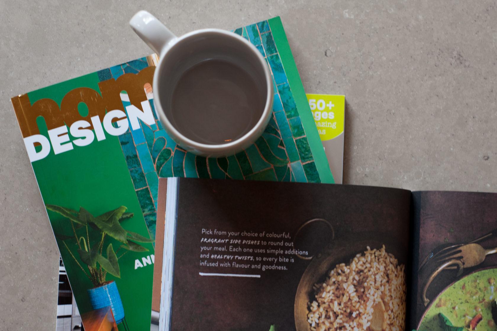 magazines on stone benchtop