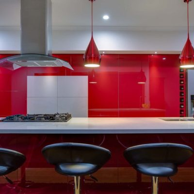 red gloss large handless kitchen
