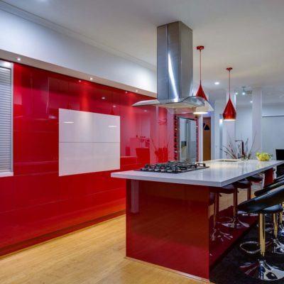 red gloss handleless kitchen