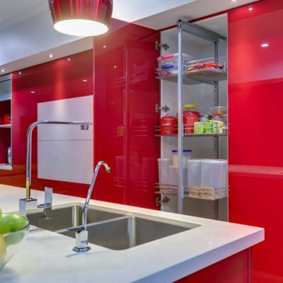 red gloss kitchen pantry and winerack