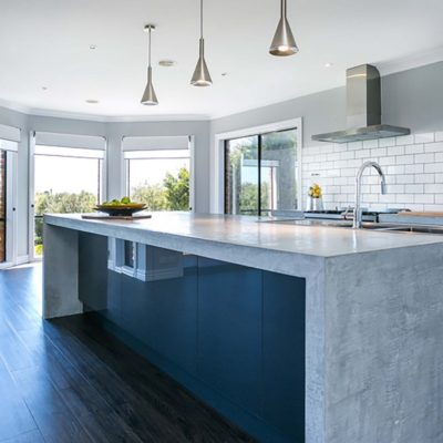 kitchen with concrete benchtop