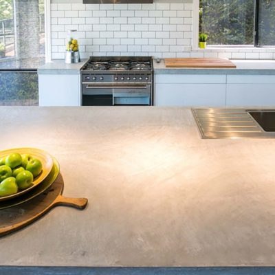 kitchen countertop with fruit bowl