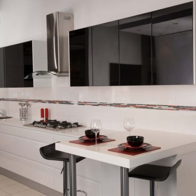 white handleless kitchen