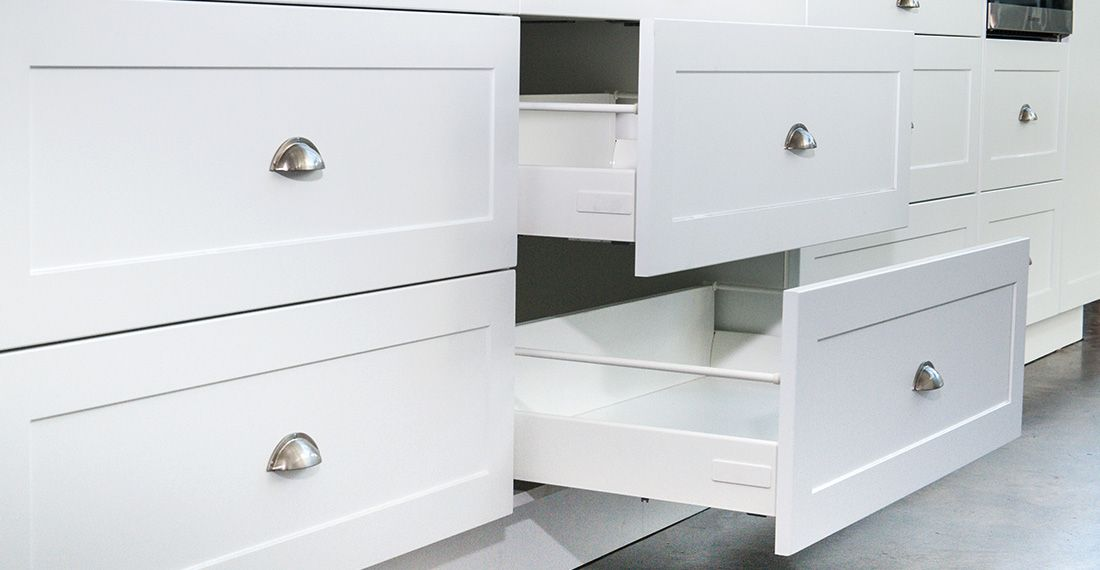white kitchen drawers