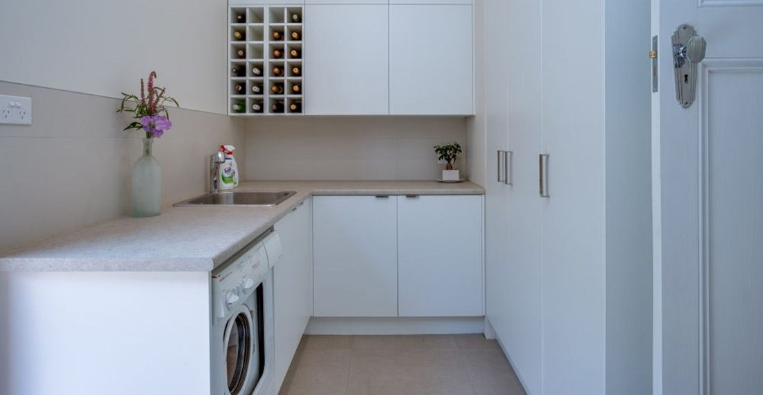 white laundry with wine rack