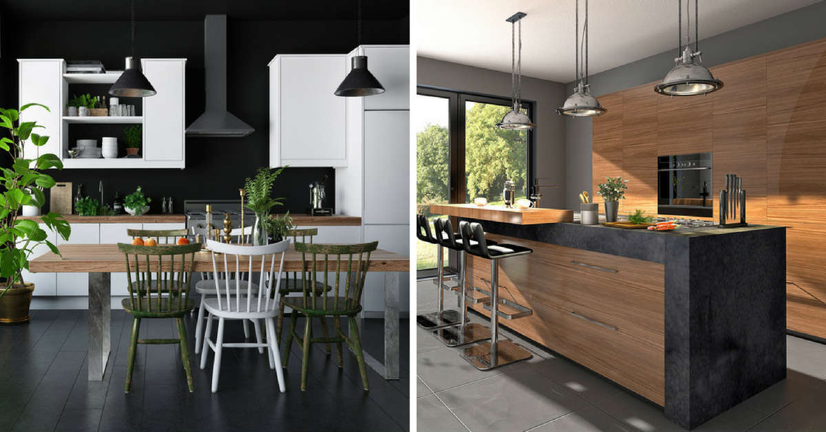 two kitchens  - one white kitchen and one timber kitchen