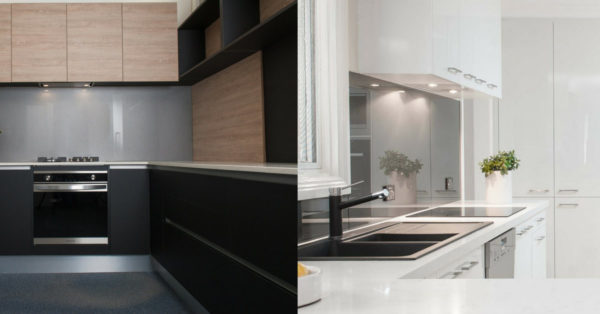 two kitchens - one white and one dark