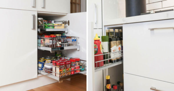 white kitchen slide out pantry with grocery supplies