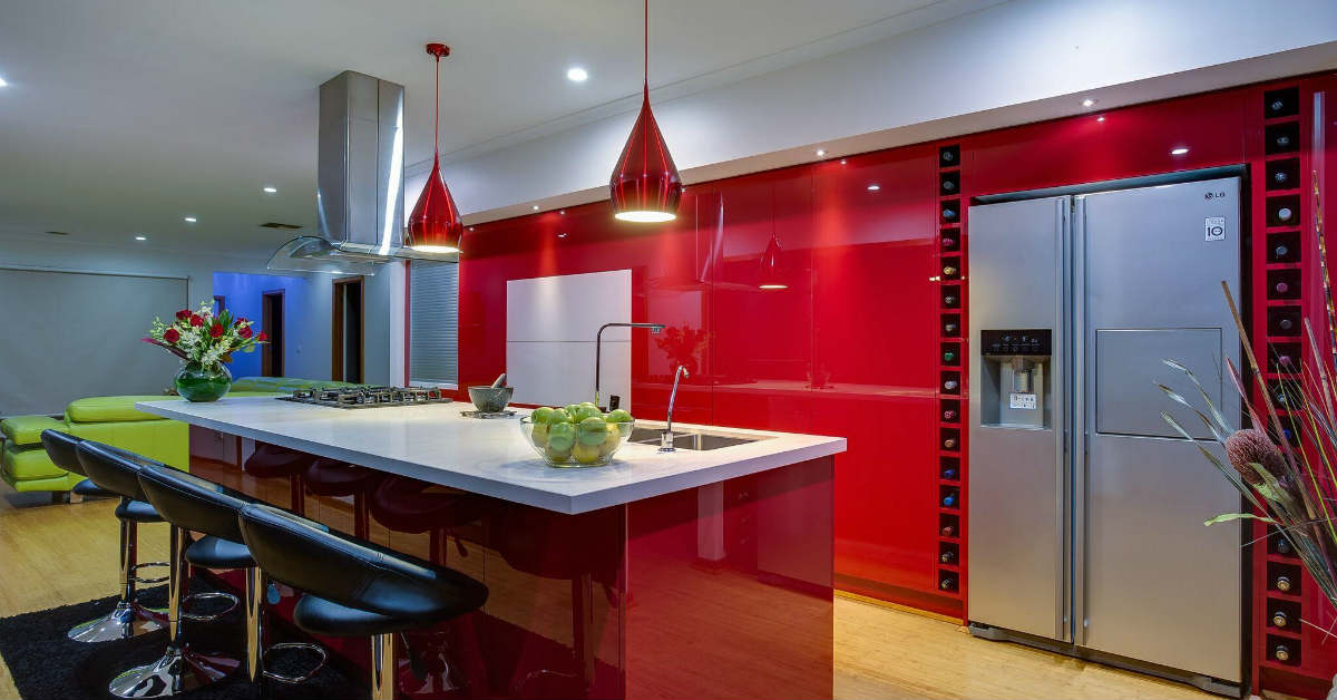 Kitchen Transformations: Red Kitchen with white stone benchtop
