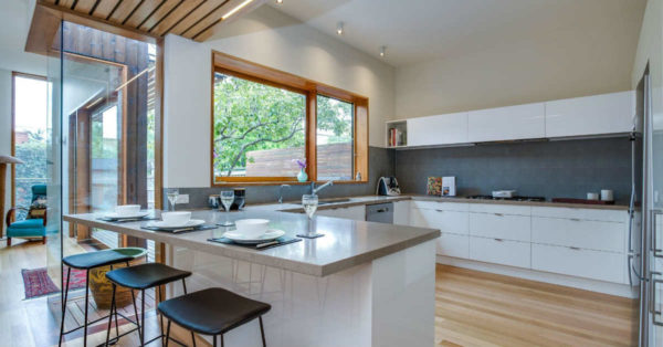 Kitchen Transformations: kitchen with glass wood accent