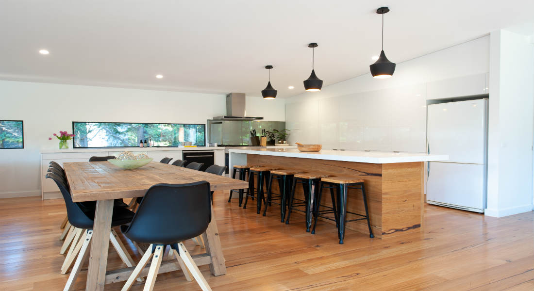 Big kitchen with timber floor