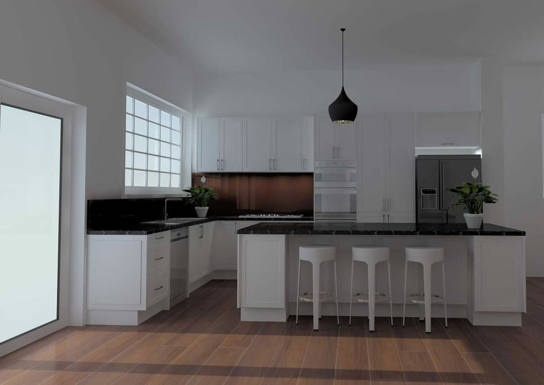 3D Render of Coburg Kitchen