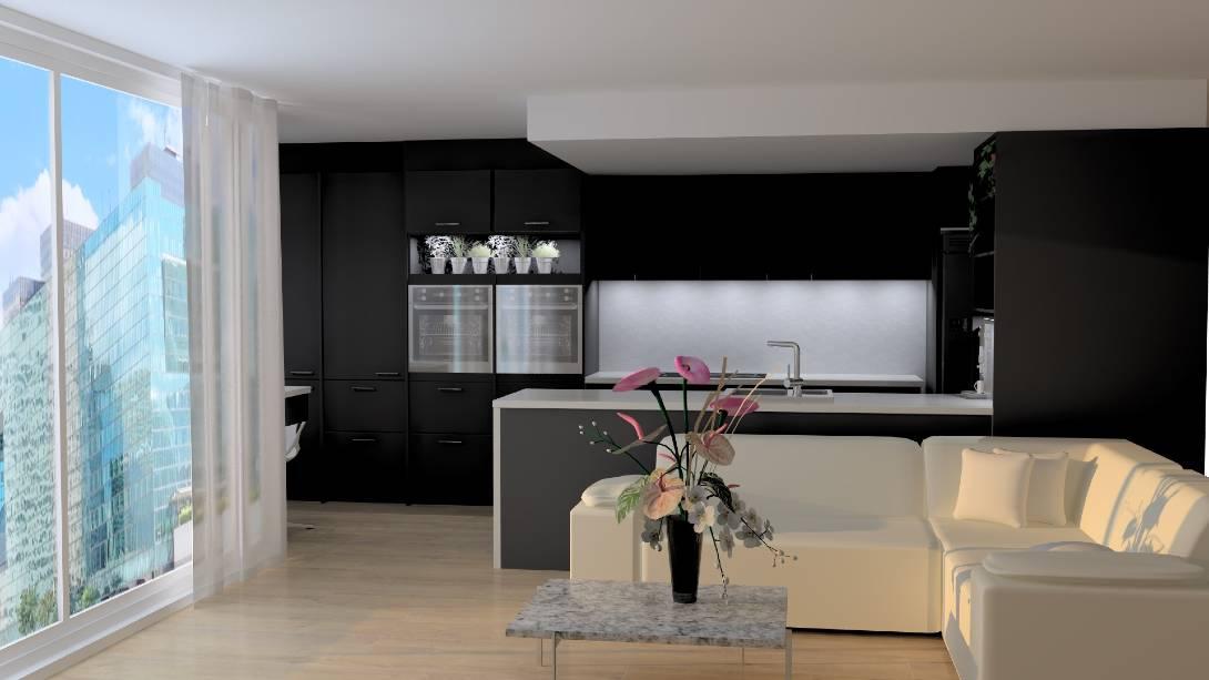 3d render of a black kitchen