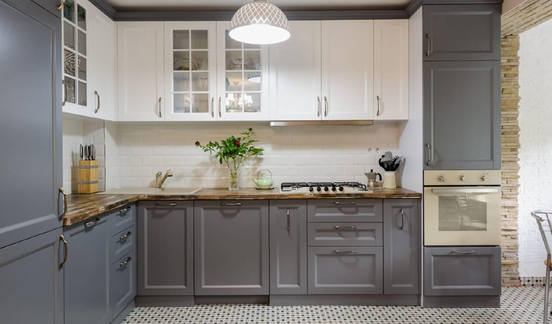 grey hampton style kitchen